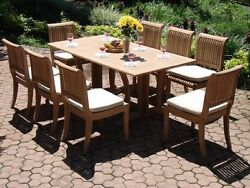 Giva 9-pc Outdoor Teak Dining 69 Console/folding Table 8 Arm/armless Chairs