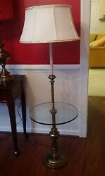 Stiffel Floor Table Lamp Antique Solid Brass And Glass