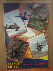 Vintage Apache Ah-64a Attack Helicopter Military Poster 1988 1925