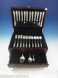 Queenand039s Lace By International Sterling Silver Flatware Set 12 Service 51 Pieces