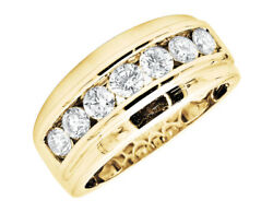 14k Yellow Gold One Row Channel-set Grooved Real Diamond Wedding Band Ring 1.5ct