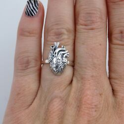 Anatomical Heart Band Ring - 925 Sterling Silver - Anatomically Real Lifelike