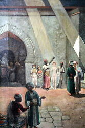 Rare Antique Arab Painting By Rubin Lamb Of Women Being Sold Into Slavery
