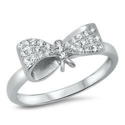 .925 Sterling Silver Ribbon Bow Clear Cz Trendy Knuckle Promise Ring Sizes 4-10
