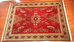 9'x12' Sarouk Persian Style Bordered Rug, 100 Soft Wool, Red, Made In India