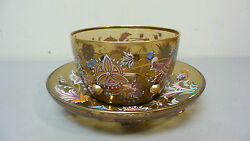 Stunning 19th C. Bohemian Enameled And Jeweled Art Glass Finger Bowl And Underplate