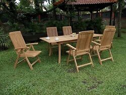 Marl 7-pc Outdoor Teak Dining 94andrdquo Rectangle Extn Table 6 Reclining Arm Chairs
