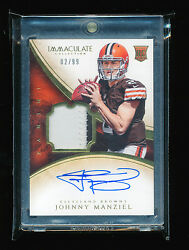 1/1 Johnny Manziel 2014 Panini Immaculate Collection Patch Auto Jersey 2/99 Rc