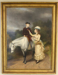 MAGNIFICENT 1877 OIL ON CANVAS  PAINTING BY R. ANSDELL & S.SIDLEY LISTED  ARTIST