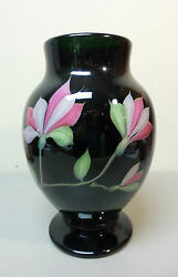 Orient And Flume Art Glass Vase Dark Green Pink And White Floral Signed C. 1992