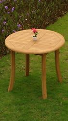 Warw 3-pc Outdoor Teak Dining 36andrdquo Round Table 2 Reclining/folding Arm Chairs