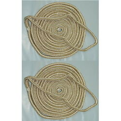 2 Pack Of 5/8 X 35 Ft Gold And White Double Braid Nylon Mooring And Docking Lines