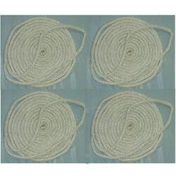 4 Pack Of 3/4 Inch X 35 Ft White Double Braid Nylon Mooring And Docking Lines