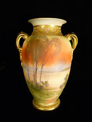 Stunning Signed Nippon Hand Painted And Enameled Scenic Handled Vase - Circa 1900