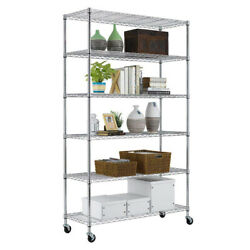 82x48x18 6 Tier Wire Shelving Unit Heavy Duty Height Adjustable Nsf