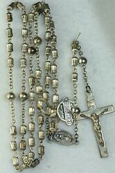 Htf Vintage Sterling Silver 1960and039s Ridged Tall Catamore Rosary