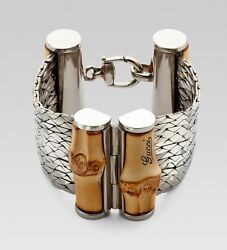 Sterling Silver And Bamboo Wood Bracelet Msrp 1890 Size 18