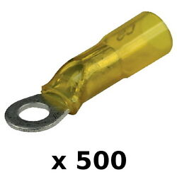 500 Pack Yellow 12-10 Awg Heat Shrink 1/4 Inch Ring Terminals For Boats