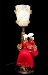 Murano Glass Table Lamp Latticino Shade And Red And Gold Lady And Gentleman Figures