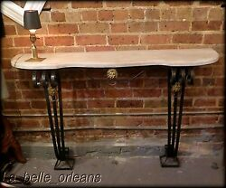 Antique Wrought Iron / Brass And Faux Marble Top Wall Console. L@@k