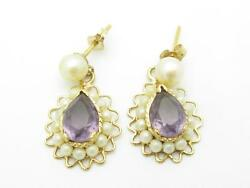14k Yellow Gold And Purple Amethyst Cultured Pearl Chandelier Design Earrings Gift