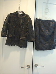 Byron Lars Beauty Mark Floral Printed Olive Black Suit Size 8 Nwt Retail 795