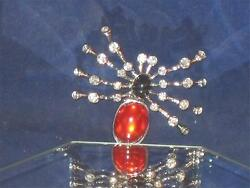 BRAND NEW SPIDER PINBROOCH SILVERTONE CRYSTALS RED & BLACK STONE  b208