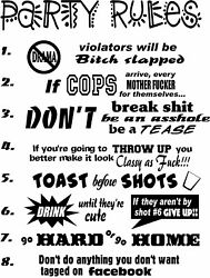 Party Rules College Dorms Frat House Window Wall Decal Refrigerator Man Cave Bar