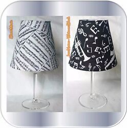 Music/jazz/band/instrumentsmall Fabric Wine Glass Lamp Shadetea Light Included