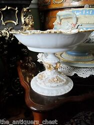Meissen Pedestal Compote With Old Limoge Bowl C1904 Gorgeous Decor In Gold[7]