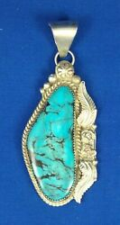 Sterling Silver And Natural Turquoise Pendant Signed Lr