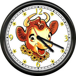 Bordens Elsie The Cow Milk Butter Dairy Sign Wall Clock