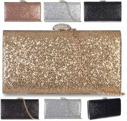LADIES NEW SYNTHETIC GLITTER SHIMMER CLUTCH PURSE SHOULDER CHAIN EVENING BAG