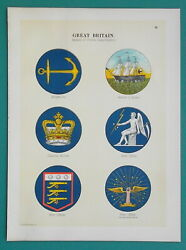 Flags England Dept Badges War Office Customs Admiralty - 1899 Color Litho Print