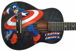 Stan Lee Signed Peavey Marvel Captain America 1/2 Acoustic Guitar And Certificate