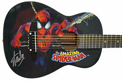 Stan Lee Signed Peavey Marvel Spiderman 1/2 Acoustic Guitar And Certificate