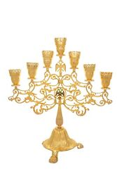 Orthodox Holy Table Seven Branch Vigil Oil Lamp Candle Or With Eletric Lights