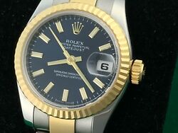 STUNNING ROLEX LADIES DATEJUST 179173 18K YELLOW GOLD & STEEL WITH BLUE DIAL