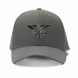Black White Navy Seal Logo Embroidery Embroidered Adjustable Hat Baseball Cap