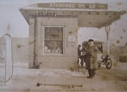 Antique Standard Oil Of Indiana In Sign Gas Pump Filling Station Rare Rppc Photo
