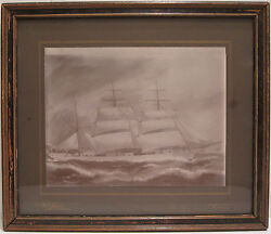 Antique American Marine Schooner Painting Seattle Tacoma Wa Listed Hester Photo