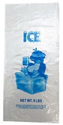 1000 bags case Plastic Bag Clear Printed LDPE 8LB Ice Bags $43.55