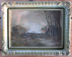 Antique Impressionist Painting Edwardian Chicago Gallery Signed Listed Artist