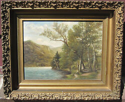 Antique 19th American Hudson Valley Oil Painting Ma New England Origin Fresh