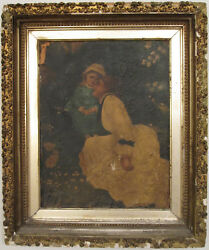 Antique Master Style Artist Mother Child Angel Fine Oil Painting Continental