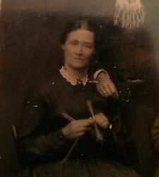 Antique American Victorian Stitching Mad Knitters Sew Rare Action Tintype Photo