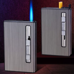 Automatic Cigarette Case Dispenser With Built In Torch Butane Lighter Windproof