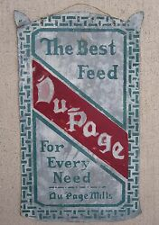 Antique Dupage Mills Feed Sign Possibly Oak Brook Il Graue Rare Early Paint Art
