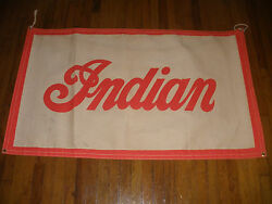 Rare 56 Vintage Advertising Circa 1940`s Indian Motorcycle Canvas Banner Sign