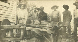 Edwardian American Antique Table Saw Woodcut Log Logging Tools Occupation Photo